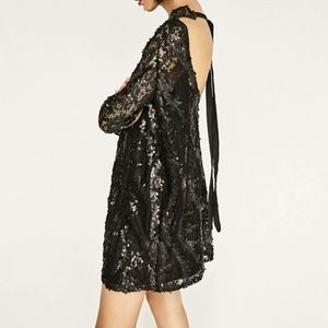 Zara Black Sequined Open Back Mesh Dress